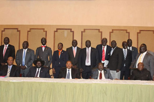 Members of the Sudan People's Liberation Movement in a photo session during their talks in Arusha, Tanzania. President Salva Kiir and his main rival Riek Machar participated in the talks expected to bridge the differences in the party.
