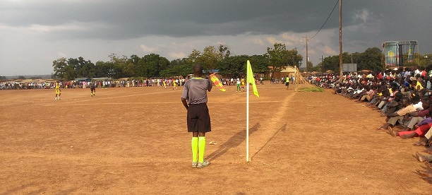 A clash between Yei Central white greent and Nasir FC yellow at Yei Freedom square